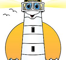 Lighthouse Cartoon White by Graphxpro