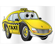 Taxi Cab Car Cartoon Poster