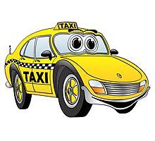 Taxi Cab Car Cartoon Photographic Print