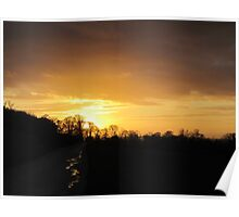Sunset over trees Poster