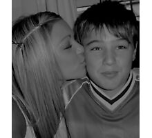 Oh, how she does love her brother. Photographic Print