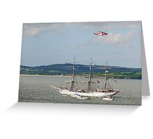 Tall Ship Christian Radich at Duncannon, County Wexford, Ireland Greeting Card