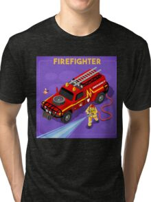 Firefighter with Hydrant Tri-blend T-Shirt