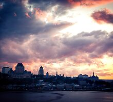 Sunset Fire Over Quebec City by Pixelglo Photography
