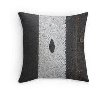 Leaf on the road Throw Pillow