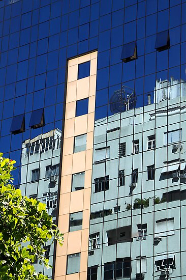 Streetscape Reflections (2), Rio de Janeiro, Brazil.  by Carole-Anne
