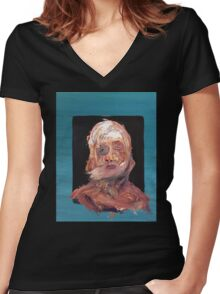 Deconstructed Portrait (Man in Blue) Women's Fitted V-Neck T-Shirt