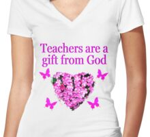 PRETTY PINK FLORAL TEACHERS DESIGN Women's Fitted V-Neck T-Shirt