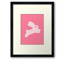 Jumping Pink Bunny Framed Print