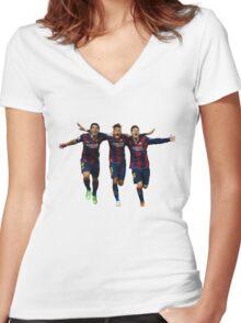 Messi Suarez Neymar Women's Fitted V-Neck T-Shirt