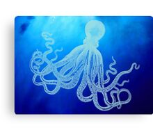 Vintage Giant Octopus in Deep Blue Ocean Canvas Print