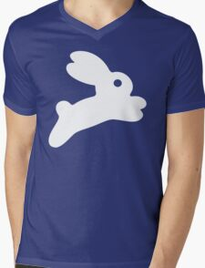 Jumping White Bunny Mens V-Neck T-Shirt