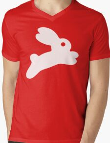 Jumping White Bunny Mens V-Neck T-Shirt