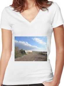 fishing boat on beach Women's Fitted V-Neck T-Shirt