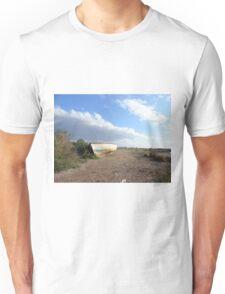 fishing boat on beach Unisex T-Shirt