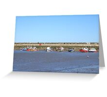 Staithes with boats in the harbour Greeting Card