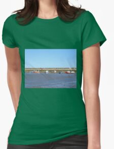 Staithes with boats in the harbour Womens Fitted T-Shirt