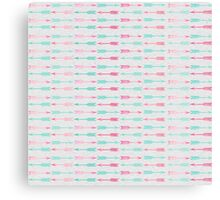 Vintage pink teal watercolor chic arrows pattern  Canvas Print