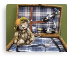 Teddy in a basket Canvas Print