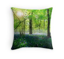Early morning bluebells- Hucking Woods Kent  Throw Pillow