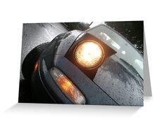 Miata in the Rain - Headlight Close-up Greeting Card