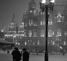 Snowfall at night in winter, Moscow by Yulia Manko