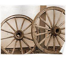 Rustic Wagon Wheels Poster