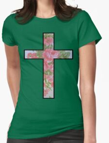 Roses Cross Womens Fitted T-Shirt