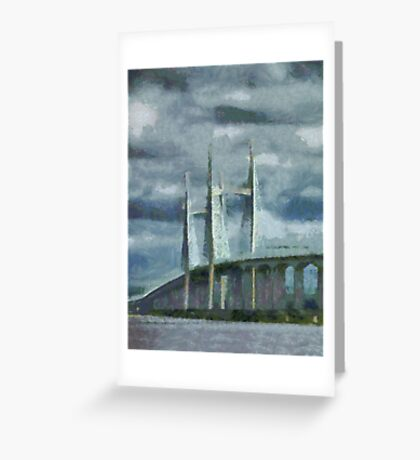Severn Bridge, Bristol, UK Greeting Card