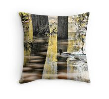 Mallard Duck on Flooding River Throw Pillow
