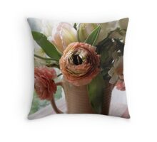 Peach Ranunculas and Tulips Throw Pillow
