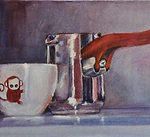 "Espresso Art Original Pastel ""Sweet Maria's Monkey Cup & Pitcher""  by MBurton. by Magaly Burton"