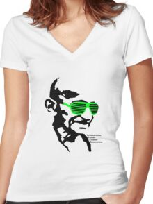 ISSA 2011 Gandhi Shades (White) Women's Fitted V-Neck T-Shirt
