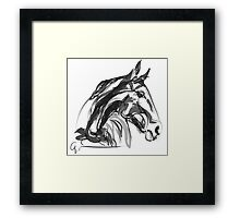 Horse Apple Digi Black and White Framed Print