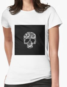 Dia De Los Muertos ~ Day Of The Dead Flower Skull (White Version) Womens Fitted T-Shirt