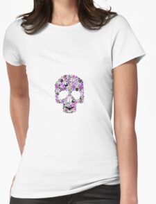 Dia De Los Muertos ~ Day Of The Dead Flower Skull (Colour Version) Womens Fitted T-Shirt