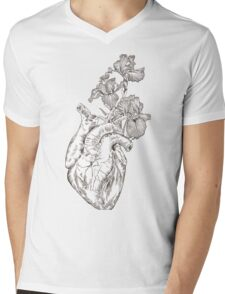 drawing Human heart with flowers  Mens V-Neck T-Shirt