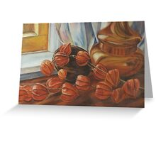 Chinese Lanterns with Vase, Oil Painting. Greeting Card