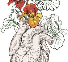 drawing Human heart with flowers by OlgaBerlet