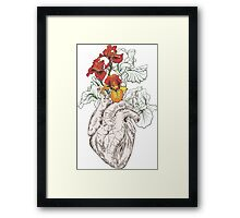 drawing Human heart with flowers Framed Print