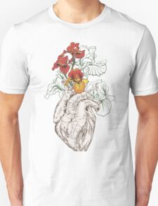 drawing Human heart with flowers Unisex T-Shirt