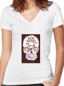Rolling Resistance (bicycle skull) Women's Fitted V-Neck T-Shirt