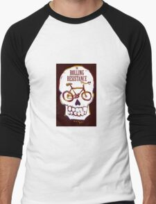 Rolling Resistance (bicycle skull) Men's Baseball ¾ T-Shirt