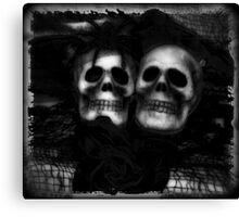 Bride and Groom Skulls Enhanced Canvas Print