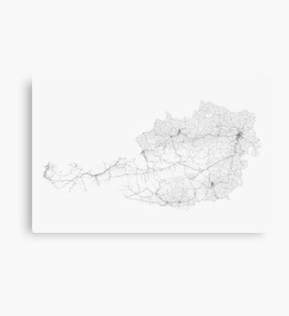 Roads of Austria. (Black on white) Canvas Print