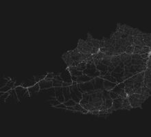 Roads of Austria. (White on black) by Graphical-Maps