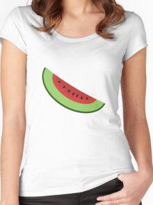 Cartoon Watermelon Slice Women's Fitted Scoop T-Shirt