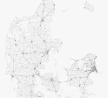 Roads of Denmark. (Black on white) by Graphical-Maps