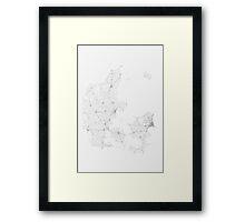 Roads of Denmark. (Black on white) Framed Print