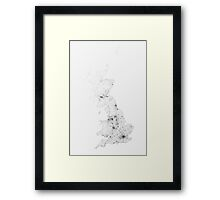 Roads of Great Britain. (Black on white) Framed Print